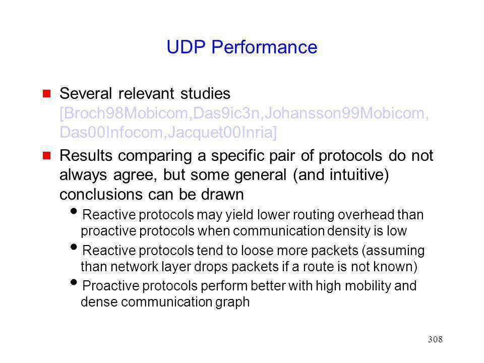 UDP Performance Several relevant studies [Broch98Mobicom,Das9ic3n,Johansson99Mobicom,Das00Infocom,Jacquet00Inria]